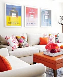 orange ottoman and pillows